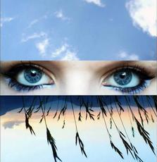 The sky above and below the blue female eyes