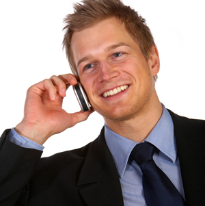 Young businessman speaking on a cell phone