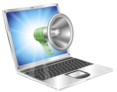 Laptop talking to megaphone