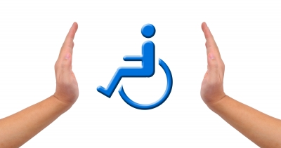 Sign for the person with dissabilities, two hands